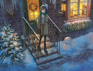 Rating: Safe Score: 63 Tags: boots building christmas hat original pippi_(p3i2) scarf snow snowman stairs winter User: FormX
