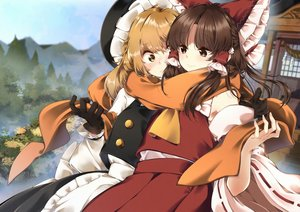 Rating: Safe Score: 47 Tags: 2girls blonde_hair brown_eyes brown_hair gloves hakurei_reimu hat hug japanese_clothes kirisame_marisa long_hair meji_aniki miko scarf shoujo_ai shrine torii touhou witch yellow_eyes User: sadodere-chan