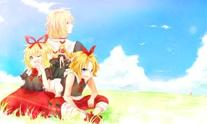 Rating: Safe Score: 29 Tags: alice_margatroid blonde_hair blue_eyes bow clouds doll dqn_(dqnww) dress genderswap grass landscape medicine_melancholy ribbons scenic shanghai_doll short_hair sky su-san touhou User: ガラス