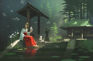 Rating: Safe Score: 39 Tags: animal brown_eyes brown_hair fish forest japanese_clothes long_hair mask miko nauimusuka original reflection scenic shrine stairs tree User: RyuZU