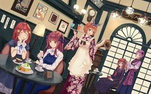 Rating: Safe Score: 47 Tags: apron blue_eyes cake cherry drink food fruit go-toubun_no_hanayome group japanese_clothes long_hair nakano_ichika nakano_itsuki nakano_miku nakano_nino nakano_yotsuba orange_hair purple_hair red_hair seifuku short_hair skirt waitress wristwear yuzuriha User: RyuZU