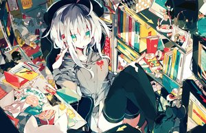 Rating: Safe Score: 47 Tags: aqua_eyes book cigarette drink food game_console headphones meto_(metrin) original phone polychromatic thighhighs white_hair User: mattiasc02