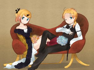 Rating: Safe Score: 8 Tags: couch kagamine_len kagamine_rin male vocaloid User: HawthorneKitty