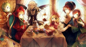 Rating: Safe Score: 113 Tags: benghuai_7 bicolored_eyes blonde_hair blue_eyes bow brown_hair cake choker dress drink food fruit green_eyes green_hair group hat hina_ichigo kanaria long_hair red_eyes rozen_maiden shinku short_hair souseiseki strawberry suigintou suiseiseki wings wink User: minabiStrikesAgain