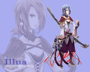 Rating: Safe Score: 37 Tags: armor blue blue_eyes blue_hair book boots bra breasts chain cleavage collar final_fantasy final_fantasy_tactics_a2 illua short_hair sword underwear watermark weapon zoom_layer User: Oyashiro-sama