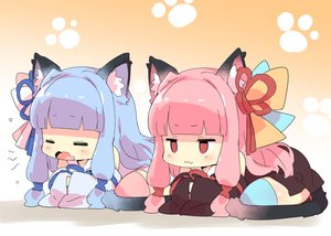 Rating: Safe Score: 44 Tags: 2girls animal_ears blue_hair catgirl cat_smile gradient japanese_clothes kotonoha_akane kotonoha_aoi petenshi_(dr._vermilion) pink_hair red_eyes tail thighhighs twins voiceroid User: sadodere-chan