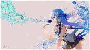 Rating: Safe Score: 58 Tags: aqua_eyes aqua_hair flowers long_hair original saraki signed User: kyxor