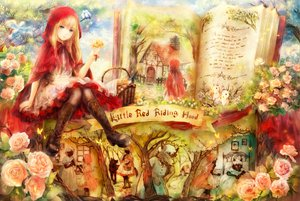 Rating: Safe Score: 181 Tags: animal bed big_bad_wolf bird blonde_hair blue_eyes book butterfly dress flowers food glasses hat little_red_riding_hood onineko pantyhose rabbit red_riding_hood tree wolf User: Maboroshi