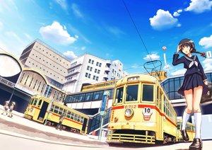 Rating: Safe Score: 83 Tags: black_hair braids building city clouds kneehighs original seifuku skirt train tsukuyomi_touka User: Flandre93