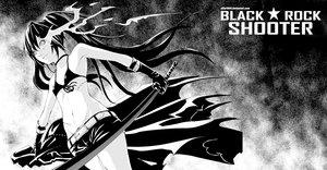 Rating: Safe Score: 58 Tags: bikini_top black_hair black_rock_shooter dream_of_abell gloves kuroi_mato long_hair monochrome scar shorts sword twintails weapon User: STORM