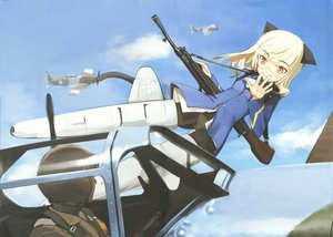 Rating: Safe Score: 35 Tags: animal_ears gun perrine-h_clostermann shimada_fumikane strike_witches tail weapon User: 秀悟