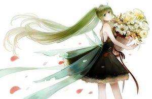 Rating: Safe Score: 21 Tags: flowers green_eyes green_hair hatsune_miku long_hair petals twintails vocaloid white User: humanpinka