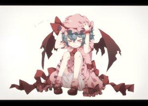 Rating: Safe Score: 113 Tags: blue_hair dress gensou_aporo hat remilia_scarlet short_hair touhou vampire wings User: FormX