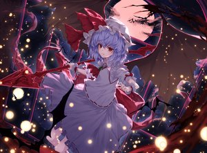 Rating: Safe Score: 41 Tags: animal bat hat lo-ta moon purple_hair red_eyes remilia_scarlet short_hair skirt spear touhou vampire weapon wings wristwear User: RyuZU