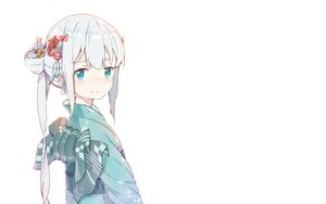 Rating: Safe Score: 93 Tags: aqua_eyes blush bow eromanga-sensei gray_hair izumi_sagiri japanese_clothes kimono loli long_hair mitu_yang white User: RyuZU