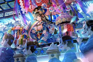 Rating: Safe Score: 93 Tags: animal aqua_eyes ball black_hair breasts building city clouds festival fish flowers food fuji_choko group headdress japanese_clothes long_hair male mask necklace original ponytail short_hair sideboob sky umbrella User: RyuZU