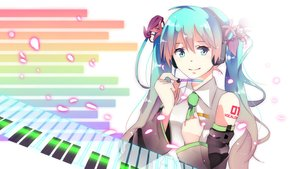 Rating: Safe Score: 65 Tags: aqua_eyes aqua_hair hatsune_miku headphones instrument long_hair piano tie twintails vocaloid User: humanpinka