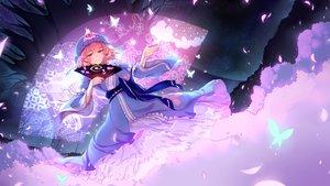 Rating: Safe Score: 64 Tags: bow butterfly dress hat japanese_clothes night petals pink_eyes pink_hair ribbons saigyouji_yuyuko short_hair stars touhou tree wukloo User: RyuZU