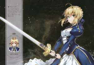Rating: Safe Score: 109 Tags: armor artoria_pendragon_(all) blonde_hair braids breasts cape chibi cleavage dress fate_(series) fate/stay_night fate/zero green_eyes ribbons riichu saber scan short_hair sword weapon User: otaku_emmy