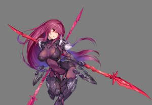 Rating: Safe Score: 131 Tags: blush bodysuit breasts fate/grand_order fate_(series) long_hair navel nidy-2d- petals purple_hair red_eyes scathach_(fate/grand_order) skintight skirt_lift spear third-party_edit watermark weapon User: luckyluna