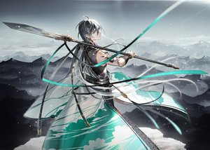 Rating: Safe Score: 33 Tags: all_male black_hair chinese_clothes landscape male ribbons scenic spear tattoo tidsean vocaloid vocaloid_china weapon wristwear yellow_eyes yuezheng_longya User: otaku_emmy