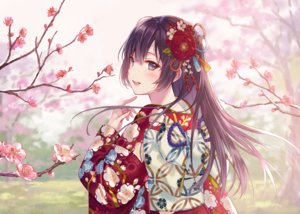Rating: Safe Score: 116 Tags: black_hair blue_eyes blush cherry_blossoms flowers fukahire_sanba japanese_clothes kimono long_hair original tree waifu2x User: otaku_emmy
