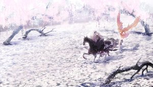 Rating: Safe Score: 134 Tags: 2girls animal brown_hair cherry_blossoms dress flowers horse kyouka_hatori long_hair original petals pixiv_fantasia tree water white_hair wings User: HawthorneKitty