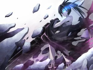 Rating: Safe Score: 170 Tags: bikini_top black_hair black_rock_shooter blue_eyes boots keido kuroi_mato navel scar see_through shorts twintails weapon User: max7238
