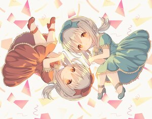 Rating: Safe Score: 16 Tags: 2girls blush bow braids dress final_fantasy final_fantasy_xiv gray_hair headband lalafell loli orange_eyes pointed_ears third-party_edit twins twintails umika35 User: otaku_emmy