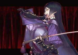Rating: Safe Score: 60 Tags: armor black_hair breasts elbow_gloves erect_nipples fate/grand_order fate_(series) gloves katana long_hair minamoto_no_yorimitsu_(fate) rokuji sword weapon User: RyuZU