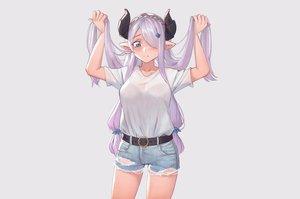 Rating: Safe Score: 60 Tags: blue_eyes bra breasts cleavage granblue_fantasy horns jmao long_hair narmaya_(granblue_fantasy) pointed_ears purple_hair see_through shorts underwear User: otaku_emmy