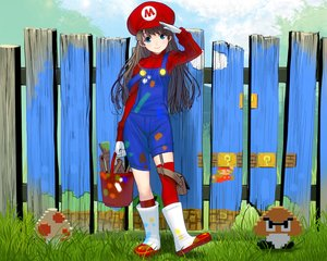 Rating: Safe Score: 88 Tags: aqua_eyes brown_hair cropped genderswap gloves grass hat long_hair mario masao super_mario User: mattiasc02