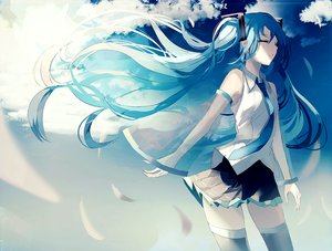 Rating: Safe Score: 41 Tags: beckzawachi blue_hair calc._(vocaloid) clouds feathers hatsune_miku long_hair polychromatic sky thighhighs tie twintails vocaloid zettai_ryouiki User: FormX