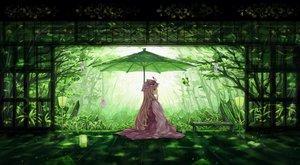Rating: Safe Score: 191 Tags: blonde_hair book butterfly dead_line drink green hat leaves long_hair shade touhou tree umbrella yakumo_yukari User: Flandre93