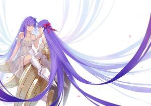 Rating: Safe Score: 19 Tags: bow dress fate/grand_order fate_(series) long_hair meltlilith_(fate) passionlip petals purple_eyes purple_hair ritsuki shoujo_ai white User: RyuZU