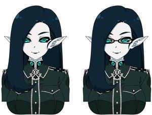Rating: Safe Score: 21 Tags: aqua_eyes blue_hair breasts glasses long_hair military original pointed_ears reddgeist uniform white User: otaku_emmy