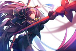 Rating: Safe Score: 65 Tags: armor ass bodysuit fate/grand_order fate_(series) gloves headdress long_hair munseonghwa purple_hair red_eyes scathach_(fate/grand_order) spear weapon User: FormX