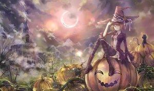 Rating: Safe Score: 168 Tags: animal blonde_hair boots cat clouds cross halloween hat mio_(pixiv6572033) moon original pumpkin purple_eyes scenic short_hair shrine thighhighs tree witch witch_hat User: mattiasc02