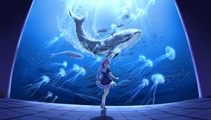 Rating: Safe Score: 54 Tags: animal denfunsan headdress hololive lolita_fashion minato_aqua purple_eyes purple_hair twintails underwater water wristwear User: gnarf1975