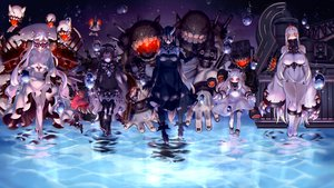 Rating: Safe Score: 70 Tags: anthropomorphism battleship_water_oni black_hair breasts cleavage dress goth-loli group horns isolated_island_hime japanese_clothes kantai_collection kareha_(sakura-turibito) loli lolita_fashion long_hair midway_hime northern_ocean_hime red_eyes seaport_hime short_hair thighhighs water white_hair User: BattlequeenYume