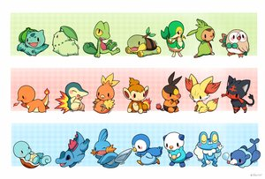 Rating: Safe Score: 96 Tags: bulbasaur charmander chespin chikorita chimchar cyndaquil fennekin froakie huiro litten mudkip oshawott piplup pokemon popplio rowlet snivy squirtle tepig torchic totodile treecko turtwig User: FormX