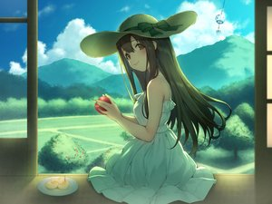 Rating: Safe Score: 42 Tags: apple brown_eyes brown_hair clouds dress food fruit hat long_hair original pokachu scenic sky summer_dress User: RyuZU
