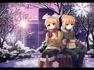 Rating: Safe Score: 23 Tags: animal cat hoodie kagamine_len kagamine_rin male scarf snow vocaloid User: w7382001
