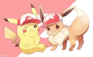 Rating: Safe Score: 25 Tags: brown_eyes cat_smile eevee hat may_(maysroom) pikachu pokemon signed wink User: otaku_emmy