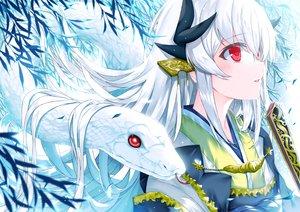 Rating: Safe Score: 55 Tags: animal close fan fate/grand_order fate_(series) japanese_clothes kimono kiyohime_(fate/grand_order) long_hair morizono_shiki red_eyes snake white_hair User: BattlequeenYume