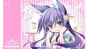 Rating: Safe Score: 76 Tags: animal_ears blue_eyes blush flowers food foxgirl headdress japanese_clothes long_hair original purple_hair tenmu_shinryuusai torii watermark User: HKO2006