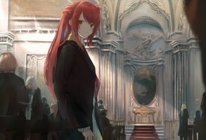 Rating: Safe Score: 38 Tags: 7ife arknights brown_eyes exusiai_(arknights) halo long_hair red_hair stairs User: BattlequeenYume
