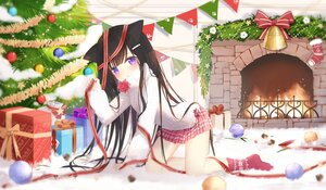 Rating: Safe Score: 36 Tags: animal_ears bell blush bow brown_hair christmas fufumi loli long_hair original purple_eyes socks tree User: BattlequeenYume