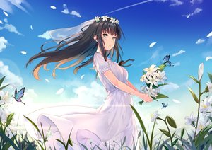 Rating: Safe Score: 84 Tags: black_hair blush butterfly clouds dance_of_eternity dress flowers flowers_(game) grass green_eyes headdress long_hair petals shirahane_suou sky summer_dress User: RyuZU