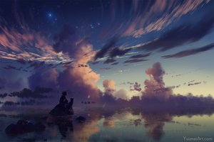 Rating: Safe Score: 102 Tags: animal clouds dog original reflection short_hair silhouette sky stars sunset water watermark wenqing_yan_(yuumei_art) User: otaku_emmy